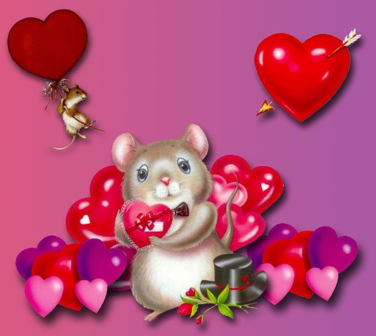 Открытка мышки на валентина, дню